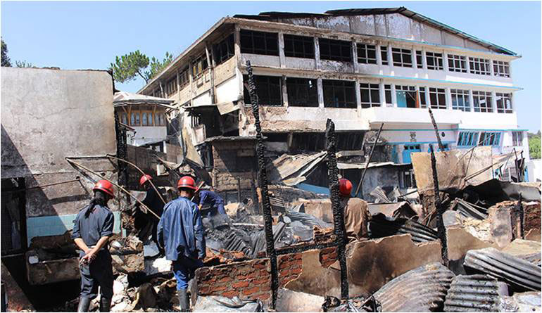 Fire incident at St. Peter, Shillong