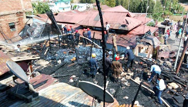 Fire fighting operation at Rynjah (R R COLONY)
